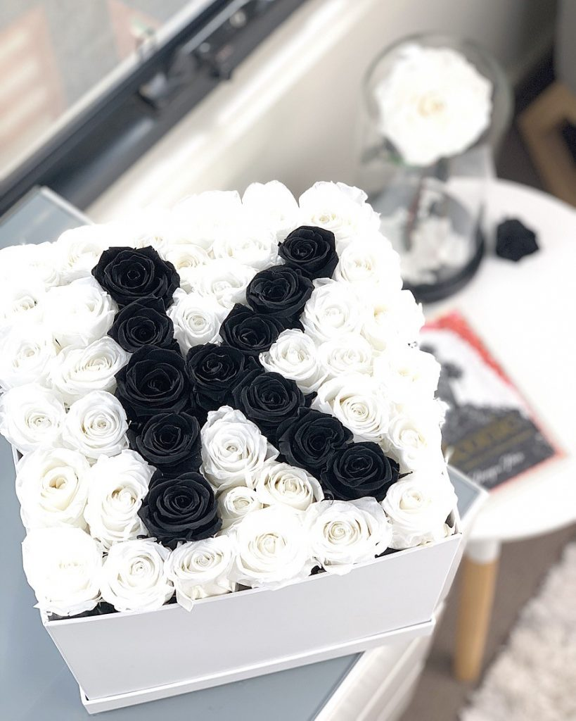 Customise box with initial black and white