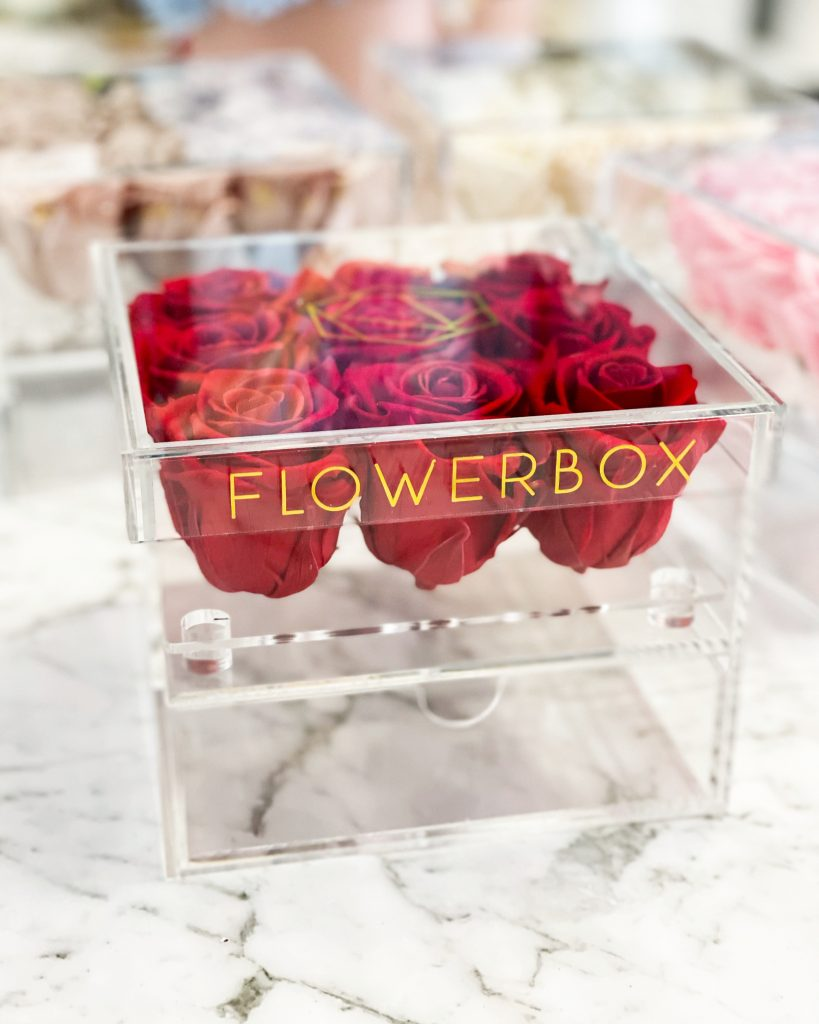 Acrylic box with infinity roses